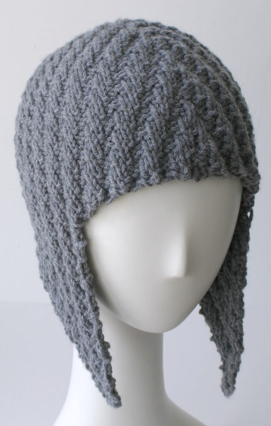 Knitting Pattern for Herringbone Rib Aviator Hat