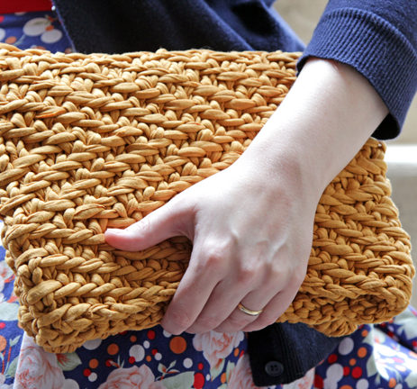 Free Knitting Pattern for Herringbone Foldover Clutch