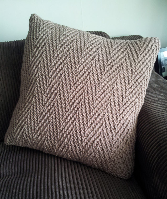 Free Knitting Pattern for Herringbone Pillow