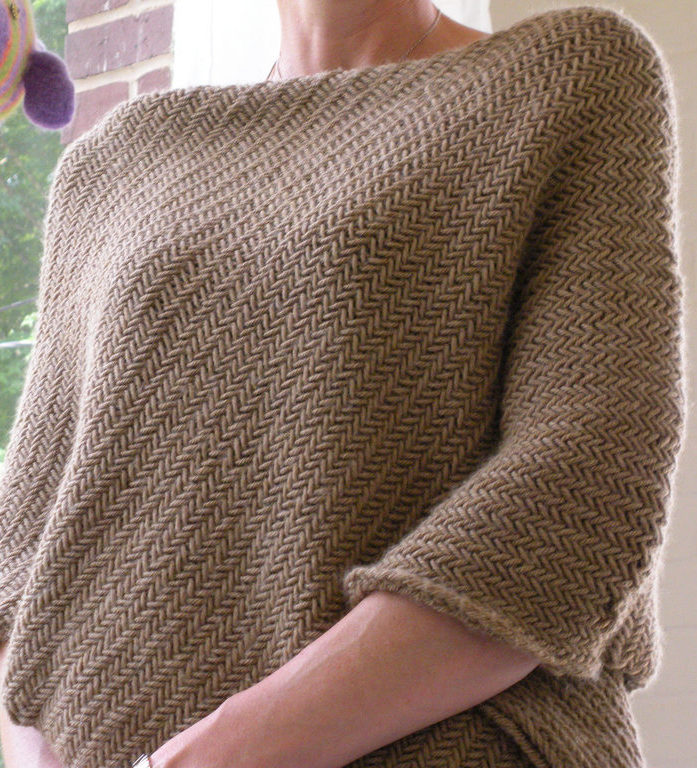 Knitting Pattern for Herringbone Poncho