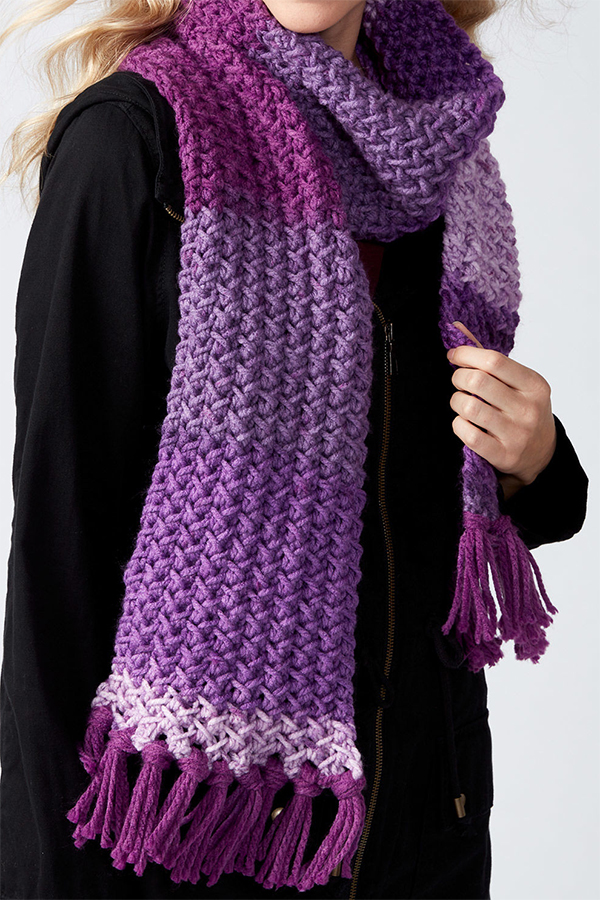 Free Knitting Pattern for 2 Row Repeat Herringbone Texture Scarf
