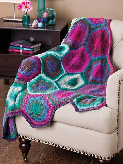 Free knitting pattern for Hexagon Afghan