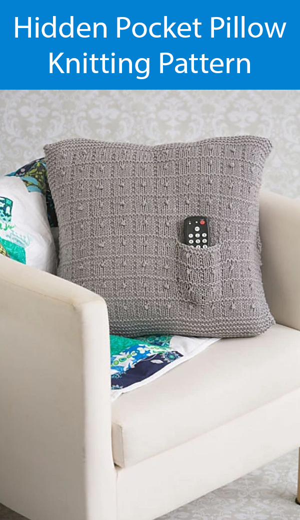Knitting Pattern for Hidden Pocket Pillow