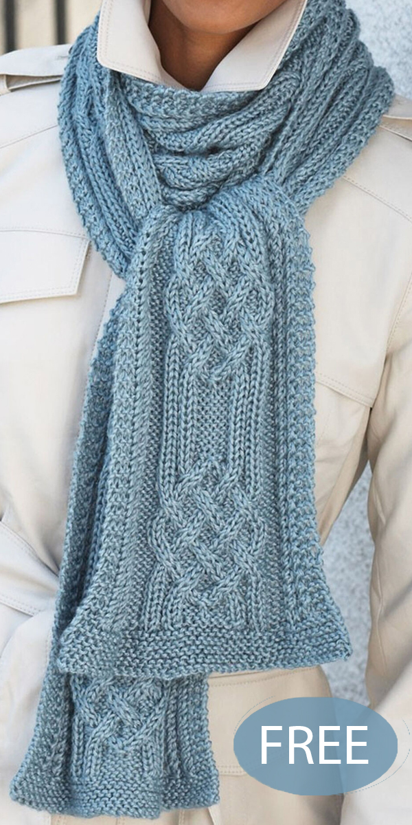 Free Knitting Pattern for Hill and Valley Cable Scarf