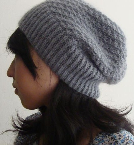 0555179e Free knitting pattern for daisy stitch slouchy beanie hat Hinagiku Hat