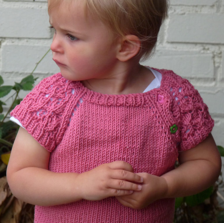 Free Knitting Pattern for Lace Sleeved Baby Pullover
