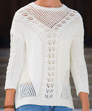 Knitting Pattern for Hint of Spring Lace Pullover