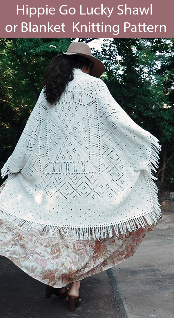 Knitting Pattern for Hippie Go Lucky Shawl or Blanket