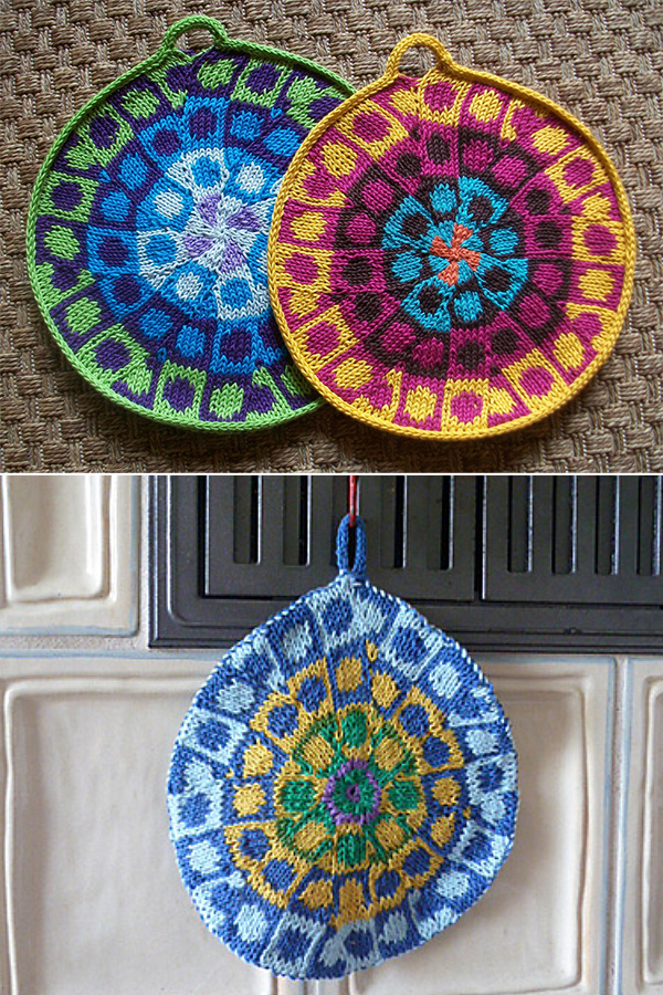 Free Knitting Pattern for Hippie Potholders