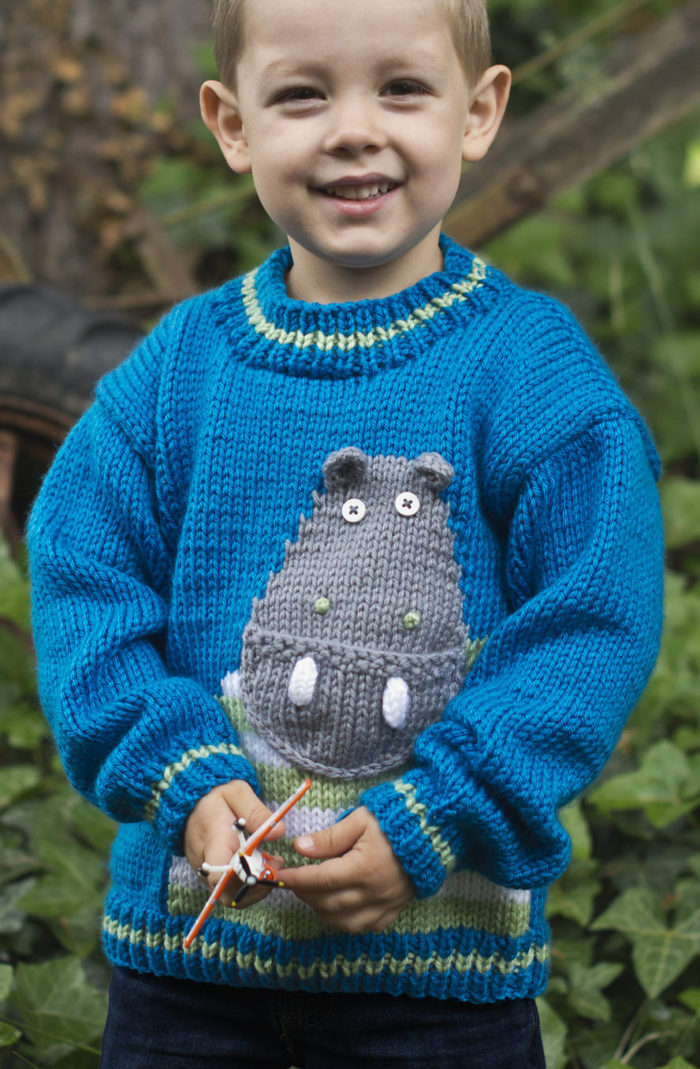 Free Knitting Pattern for Hip Hippo-Ray! Pullover