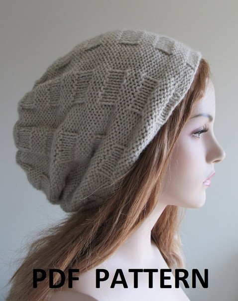 Knitting pattern for Hipster Slouchy Hat with modified woven stitch pattern