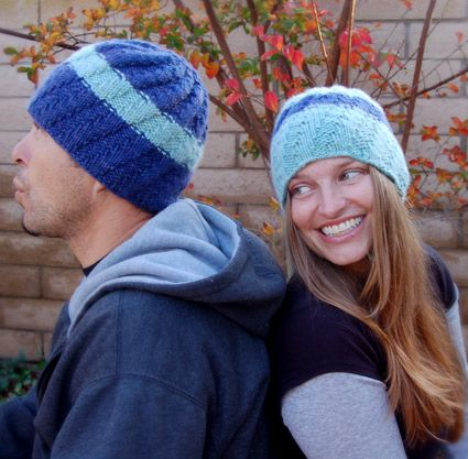 Free knitting pattern for His and Her Hats with spiral pattern and more beanie knitting patterns