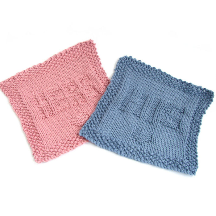 Knitting Pattern for His and Hers Wash Cloths