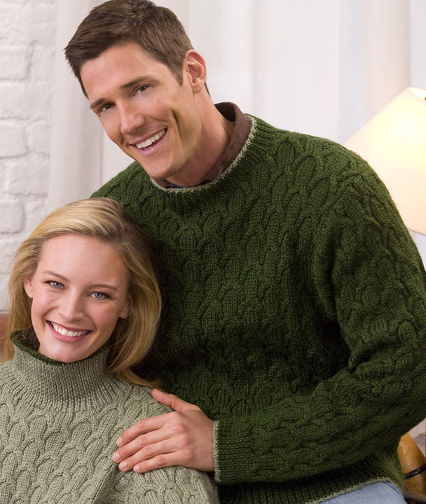 Free Knitting Pattern for His or Her Cabled Pullover