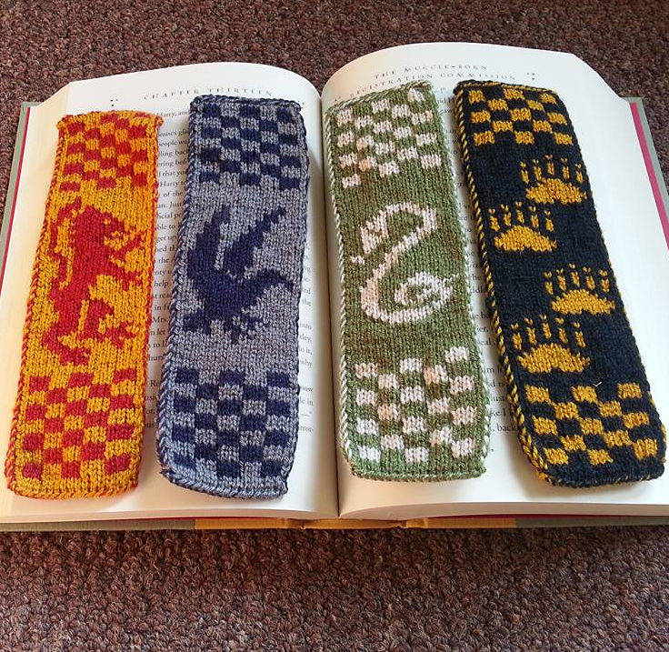 Free Knitting Pattern for Hogwarts Bookmarks