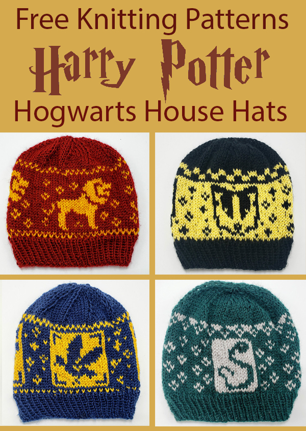 Free Knitting Pattern for Harry Potter Hogwarts House Hats