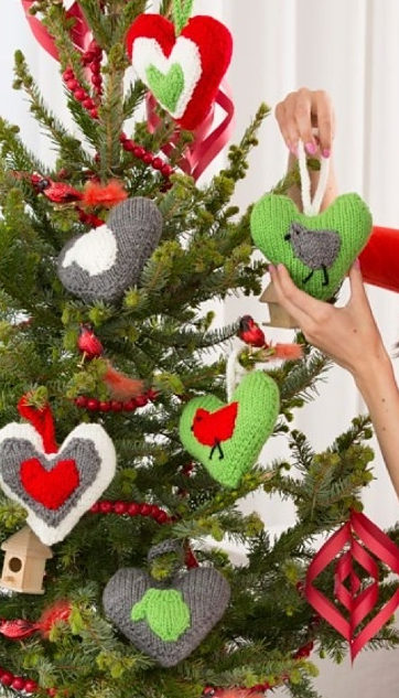 Free Knitting Patterns for Heart Holiday Ornaments