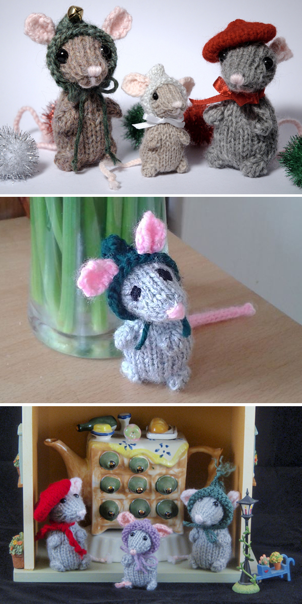 Free Knitting Pattern for Holiday Mice