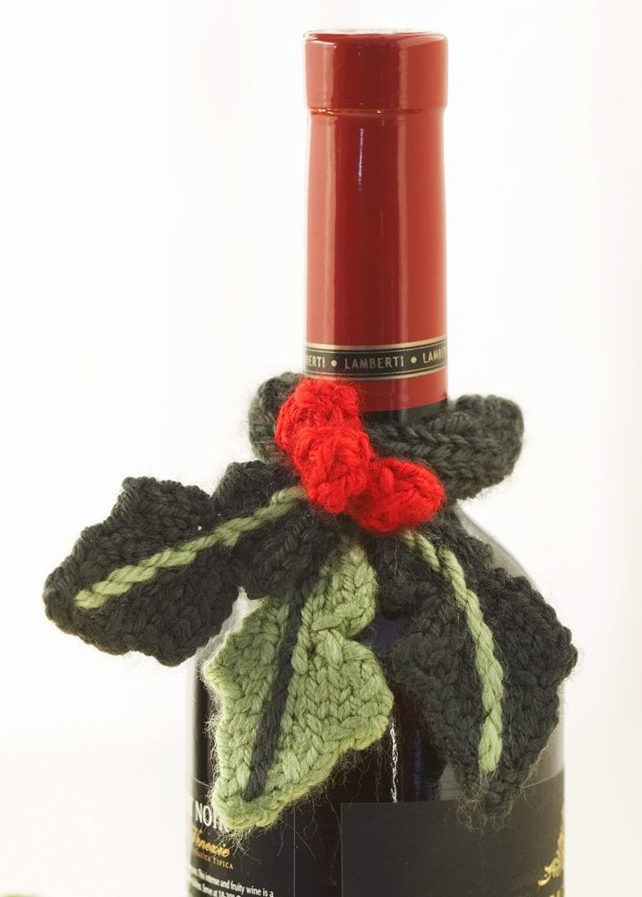 Free Knitting Pattern for Holly Bottle Topper