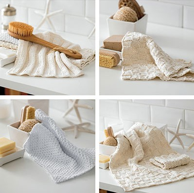 Knitting patterns for dish cloths, face cloths, hand towels, more