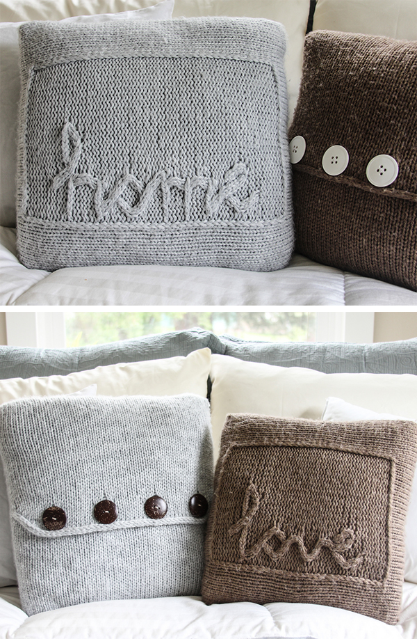Knitting Pattern for ome and Love Throw Pillows