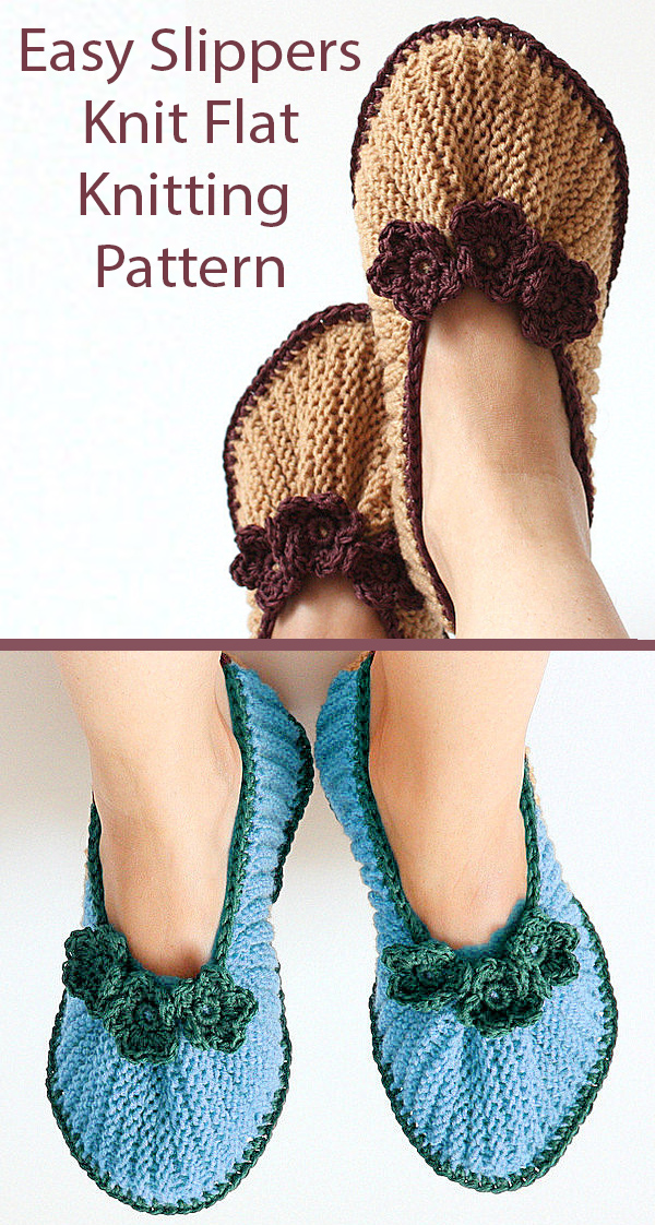Knitting Pattern for Slippers Knit Flat on 2 Needles with Crocheted Flowers