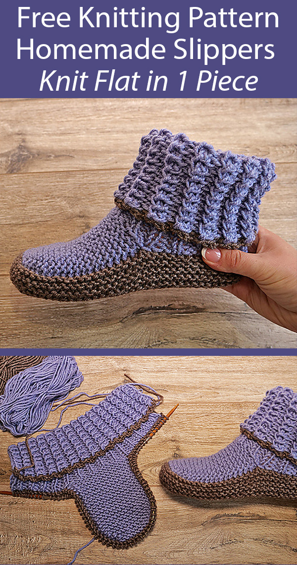 Free Knitting Pattern for Homemade Slippers Knit Flat