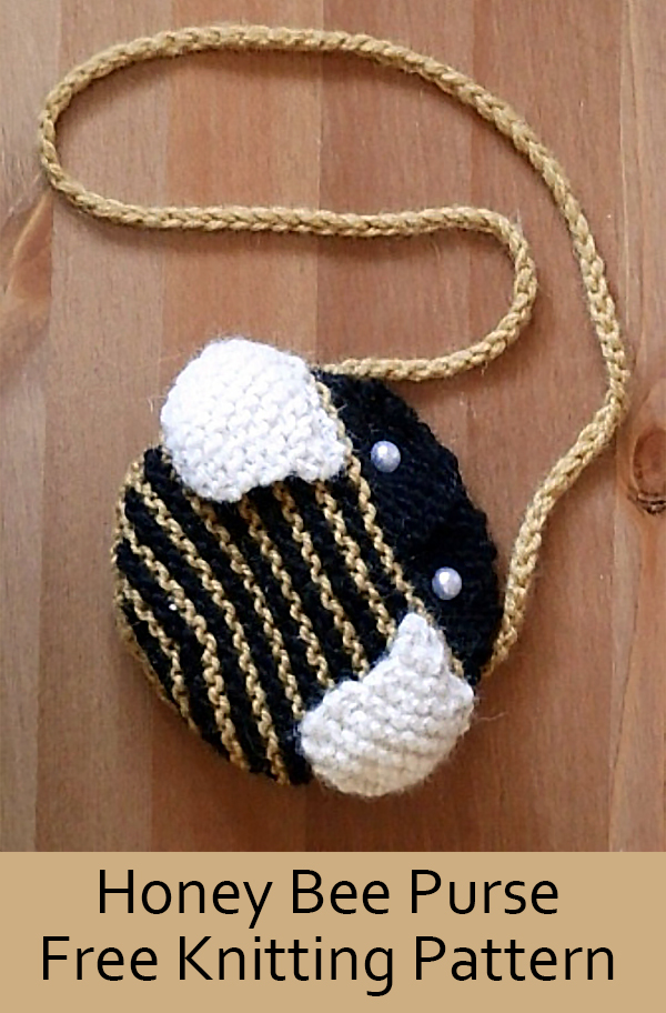 Free Knitting Pattern for Honey Bee Purse