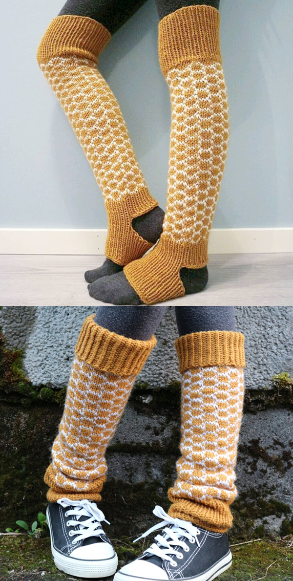 Knitting Pattern for HoneyComb Leg Warmers sizes XS-XL