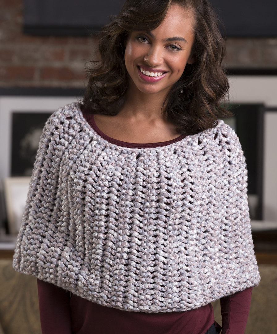 Free Knitting Pattern for Honeycomb Poncho
