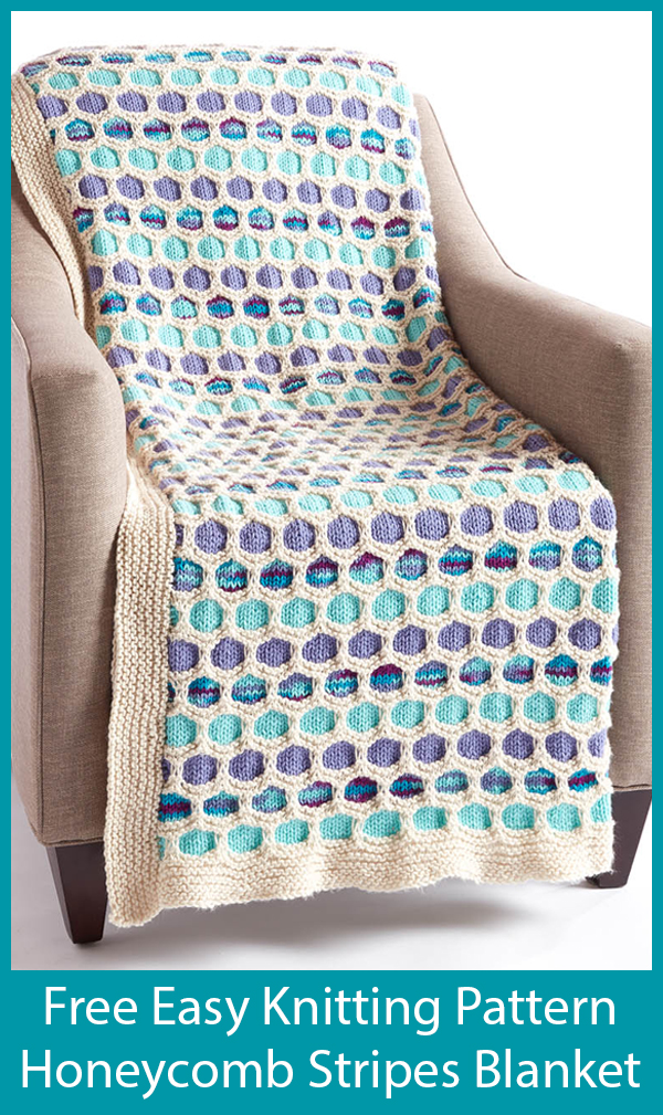 Free Knitting Pattern for Easy Honeycomb Stripes Blanket
