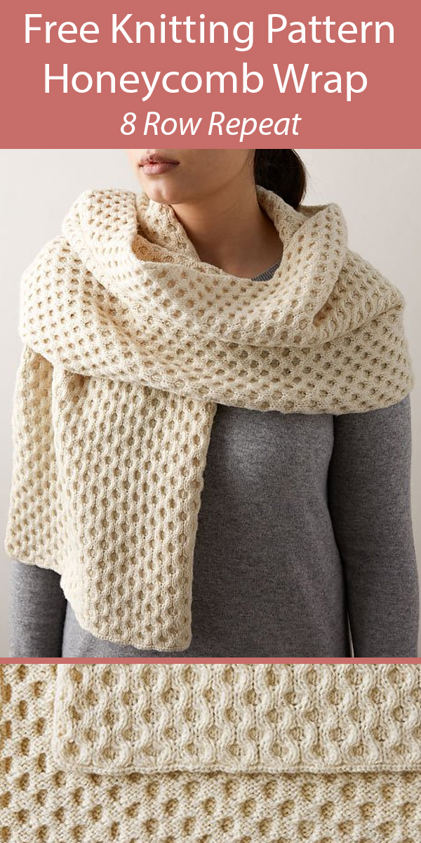 Free Knitting Pattern for Honeycomb Wrap