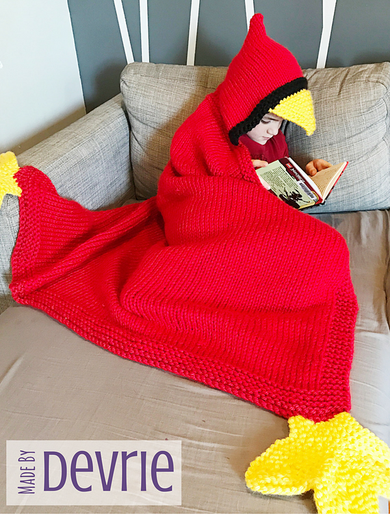 Knitting Pattern for Hooded Bird Blanket