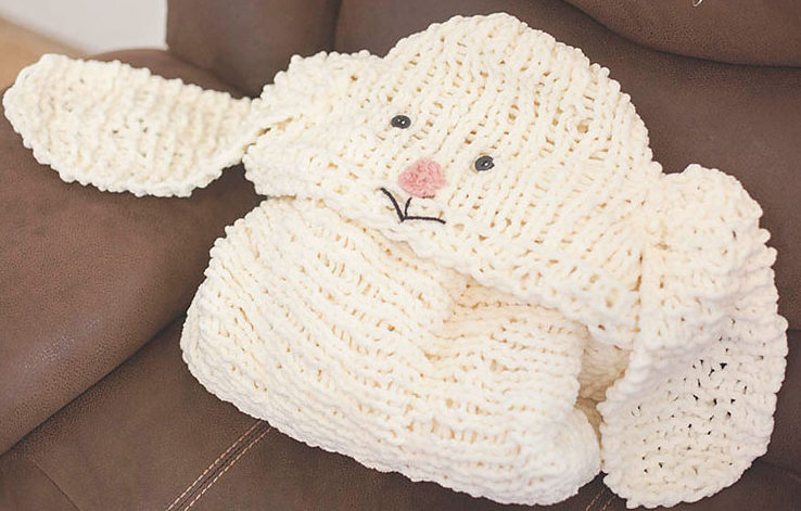 Free Knitting or Crochet Pattern for Hooded Bunny Blanket