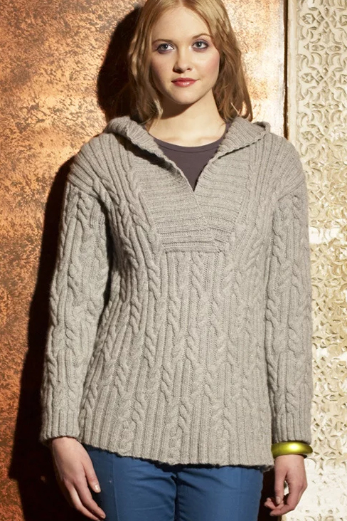 Free Knitting Pattern for Hooded Cabled Tunic