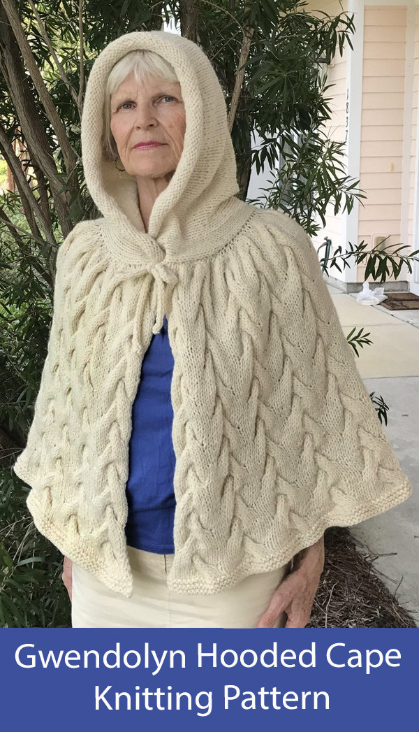Shawl Knitting Pattern Gwendolyn Hooded Cape
