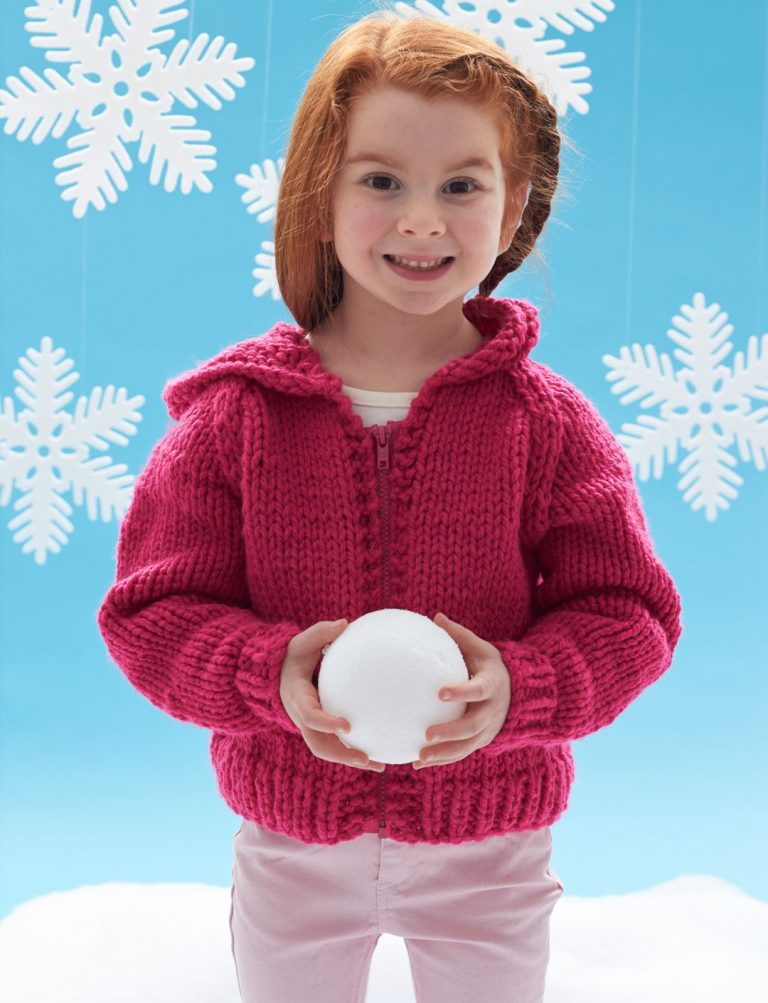 Free knitting pattern for childs hooded jacket