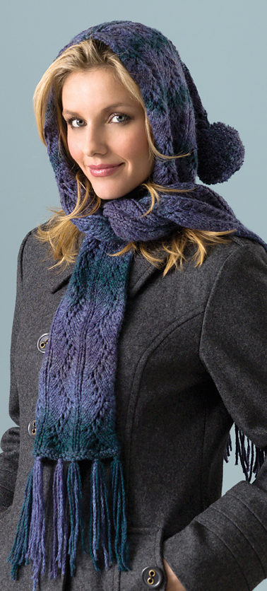 Free Knitting Pattern for Hooded Lace Scarf