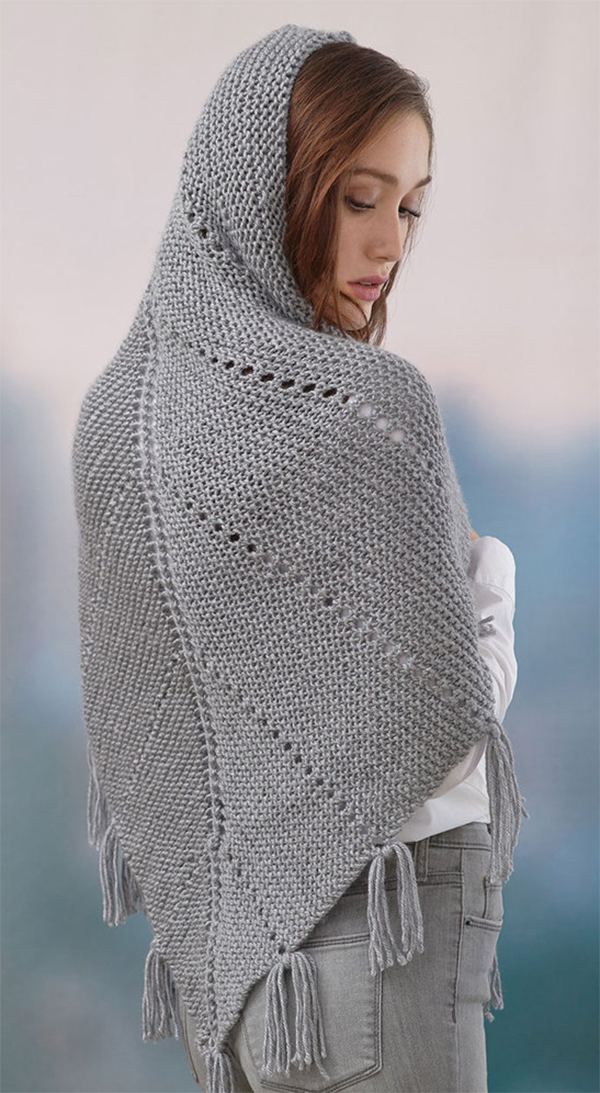 Free Knitting Pattern for Easy Hoodie Shawl