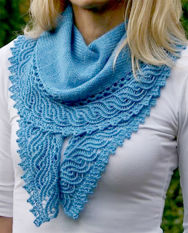 Knitting Pattern for With the One Skein Crescent Shawl