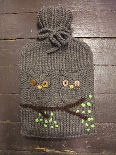 Free knitting pattern for Hoot Owl Water Bottle Cozy and more owl knitting patterns