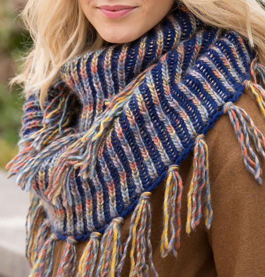 Free Knitting Pattern for Horizon Brioche Cowl