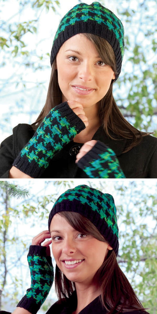Free Knitting Pattern for Houndstooth Beanie and Mitts
