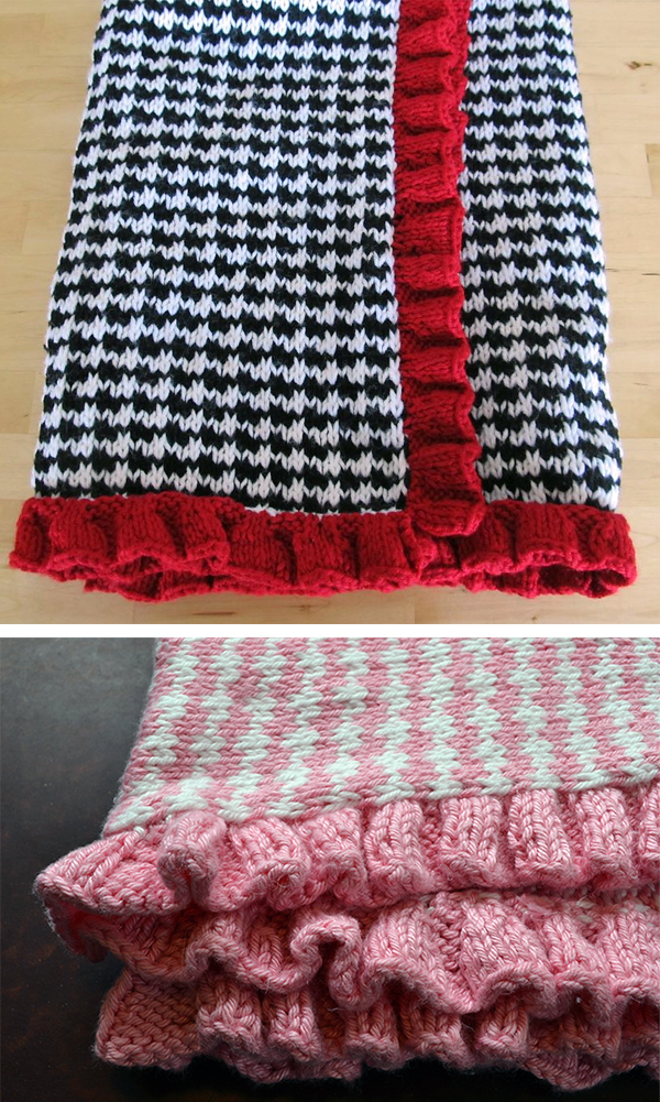 Free Knitting Pattern for 4 Row Repeat Houndstooth Baby Blanket