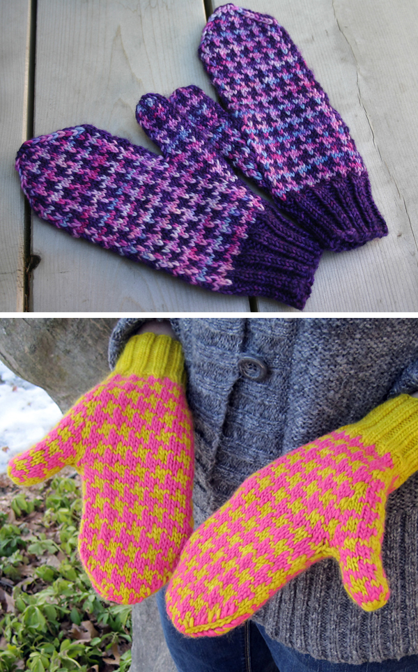 Free Knitting Pattern for Houndstooth Check Mittens