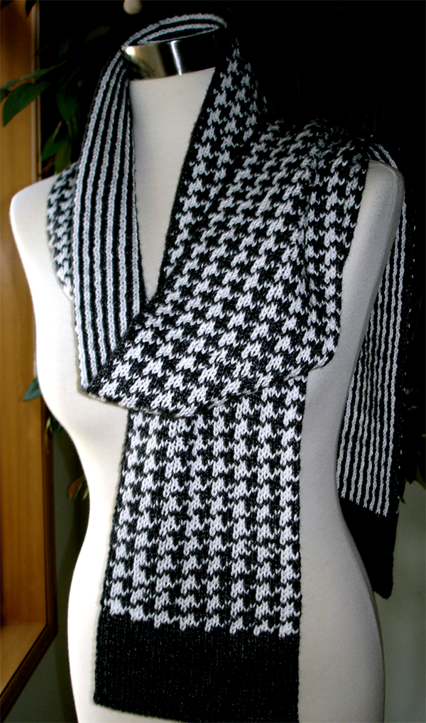 Free Knitting Pattern for Houndstooth Double Knit Scarf