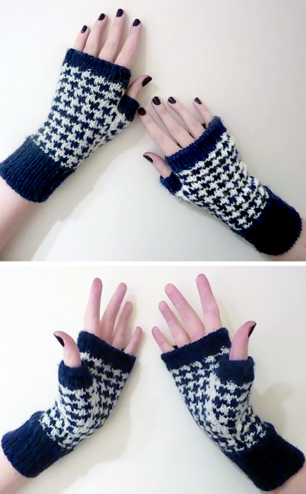 Free Knitting Pattern for Houndstooth Handwarmers