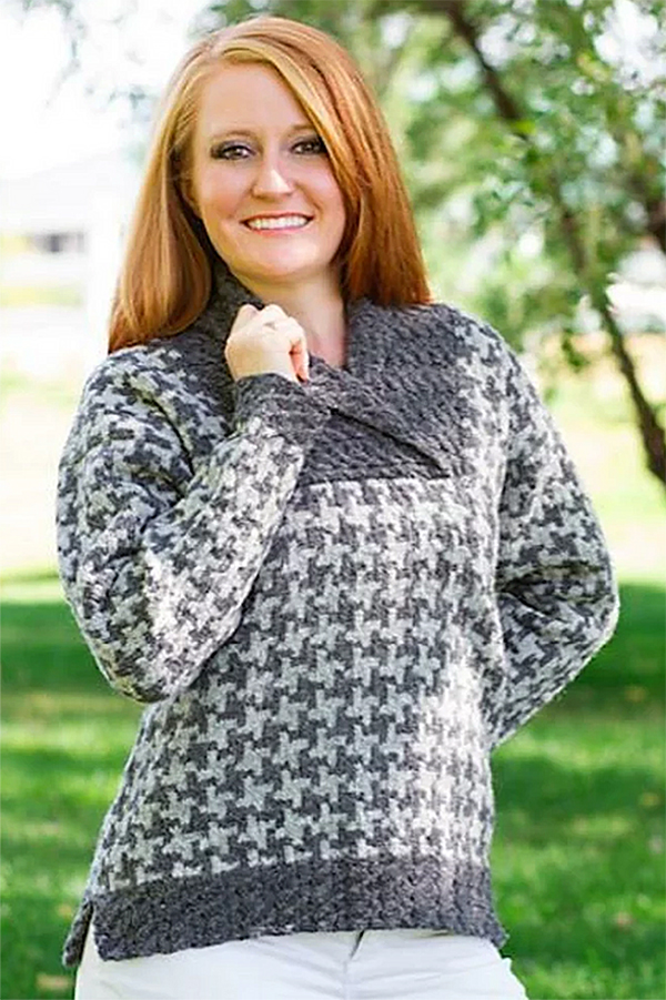 Knitting Pattern for Houndstooth Pullover