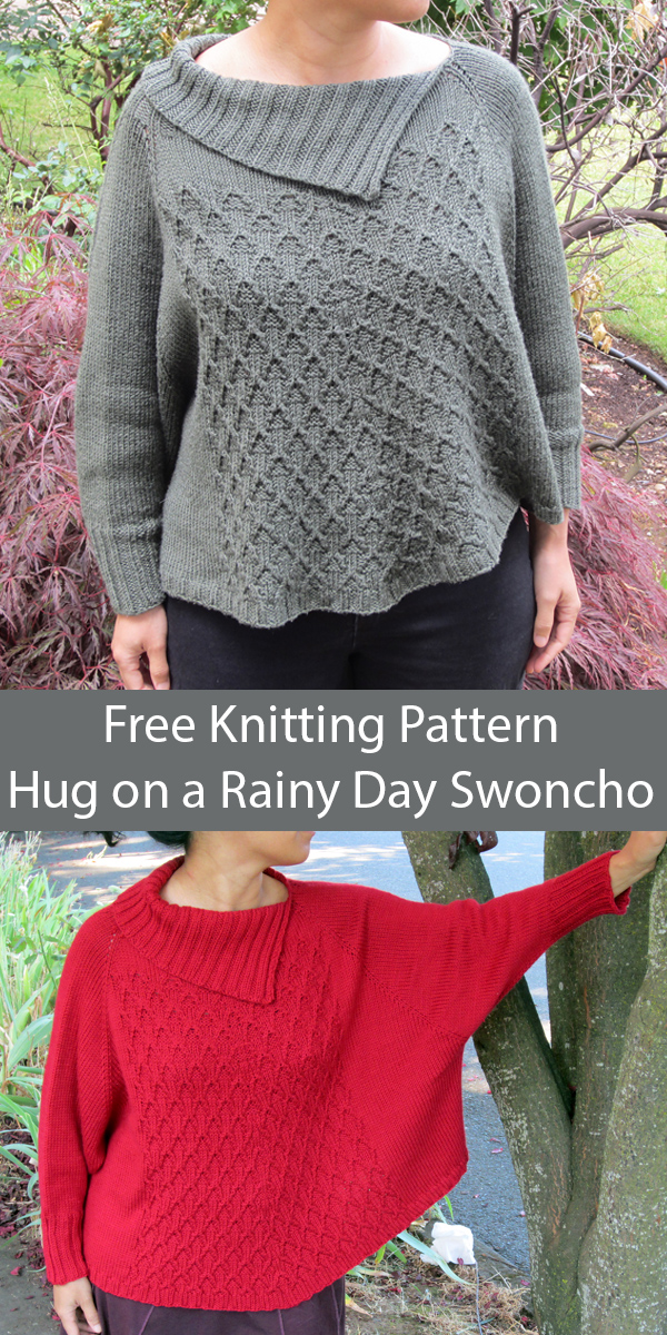 Free Knitting Pattern for A Hug on a Rainy Day Swoncho