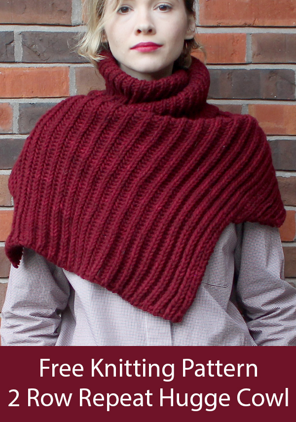 Free Knitting Pattern for 2 Row Repeat Hugge Shoulder Cozy